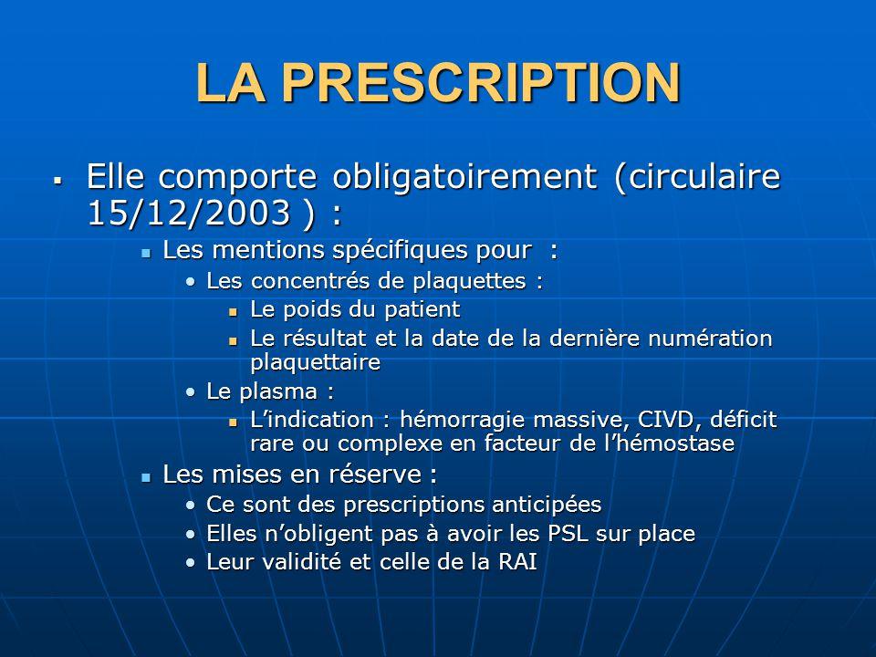 LA PRESCRIPTION Elle comporte obligatoirement (circulaire 15/12/2003 ) : Elle comporte obligatoirement (circulaire 15/12/2003 ) : Les mentions spécifi
