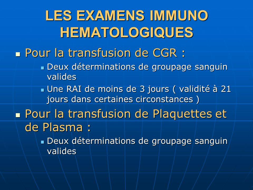 LES EXAMENS IMMUNO HEMATOLOGIQUES Pour la transfusion de CGR : Pour la transfusion de CGR : Deux déterminations de groupage sanguin valides Deux déterminations de groupage sanguin valides Une RAI de moins de 3 jours ( validité à 21 jours dans certaines circonstances ) Une RAI de moins de 3 jours ( validité à 21 jours dans certaines circonstances ) Pour la transfusion de Plaquettes et de Plasma : Pour la transfusion de Plaquettes et de Plasma : Deux déterminations de groupage sanguin valides Deux déterminations de groupage sanguin valides