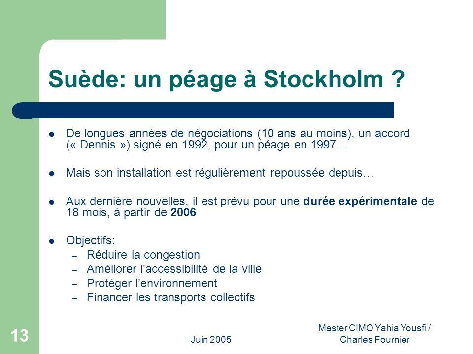 Juin 2005 Master CIMO Yahia Yousfi / Charles Fournier 13 Suède: un péage à Stockholm ? De longues années de négociations (10 ans au moins), un accord