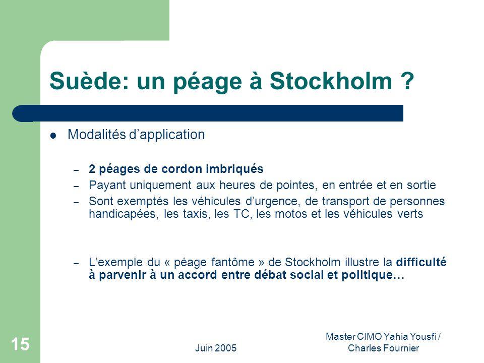 Juin 2005 Master CIMO Yahia Yousfi / Charles Fournier 15 Suède: un péage à Stockholm ? Modalités dapplication – 2 péages de cordon imbriqués – Payant