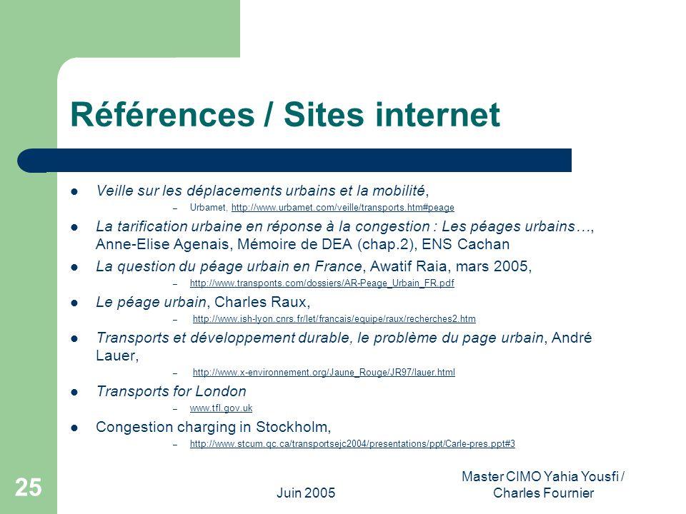 Juin 2005 Master CIMO Yahia Yousfi / Charles Fournier 25 Références / Sites internet Veille sur les déplacements urbains et la mobilité, – Urbamet, ht
