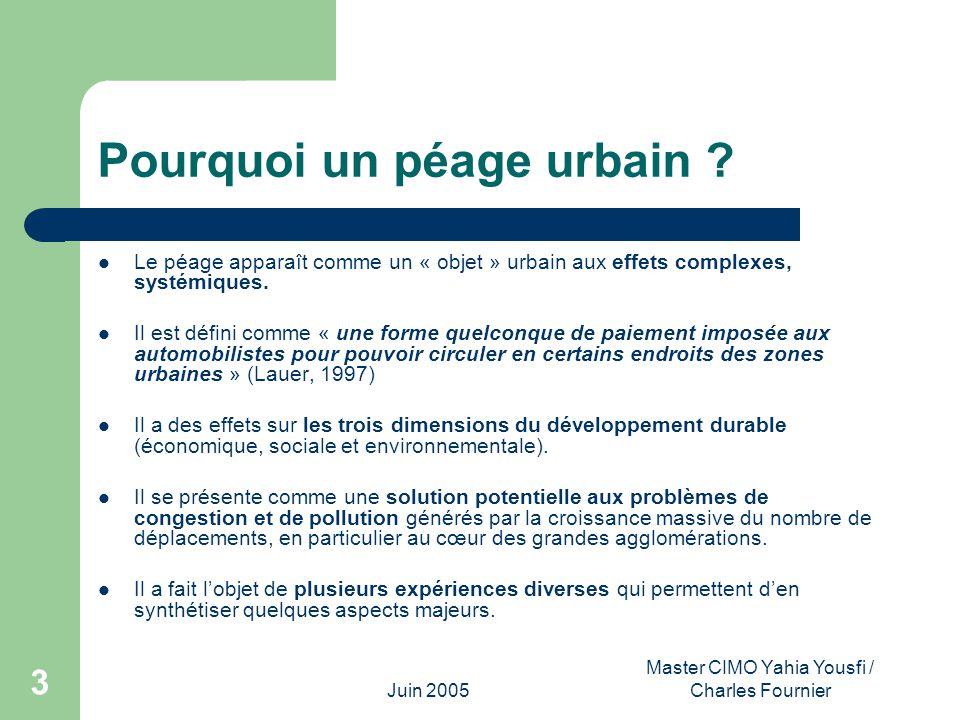 Juin 2005 Master CIMO Yahia Yousfi / Charles Fournier 3 Pourquoi un péage urbain ? Le péage apparaît comme un « objet » urbain aux effets complexes, s
