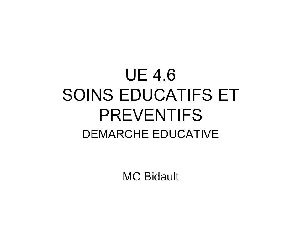 UE 4.6 SOINS EDUCATIFS ET PREVENTIFS DEMARCHE EDUCATIVE MC Bidault