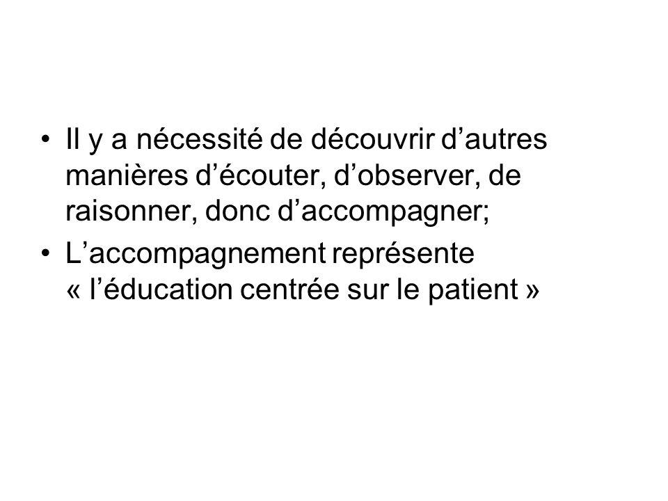 Il y a nécessité de découvrir dautres manières découter, dobserver, de raisonner, donc daccompagner; Laccompagnement représente « léducation centrée sur le patient »
