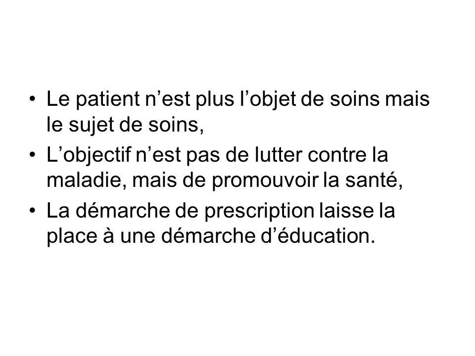 Le patient nest plus lobjet de soins mais le sujet de soins, Lobjectif nest pas de lutter contre la maladie, mais de promouvoir la santé, La démarche de prescription laisse la place à une démarche déducation.