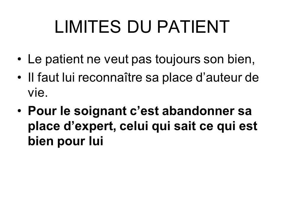 LIMITES DU PATIENT Le patient ne veut pas toujours son bien, Il faut lui reconnaître sa place dauteur de vie.