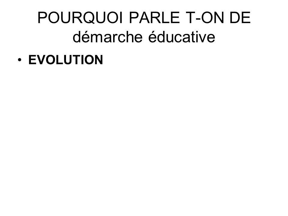 POURQUOI PARLE T-ON DE démarche éducative EVOLUTION