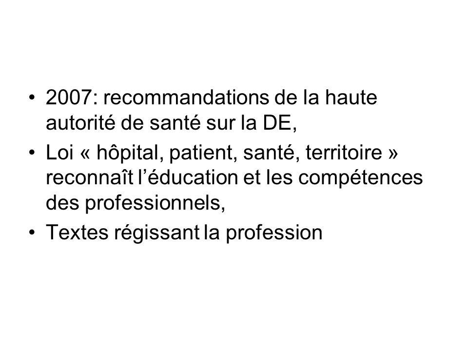 2007: recommandations de la haute autorité de santé sur la DE, Loi « hôpital, patient, santé, territoire » reconnaît léducation et les compétences des professionnels, Textes régissant la profession