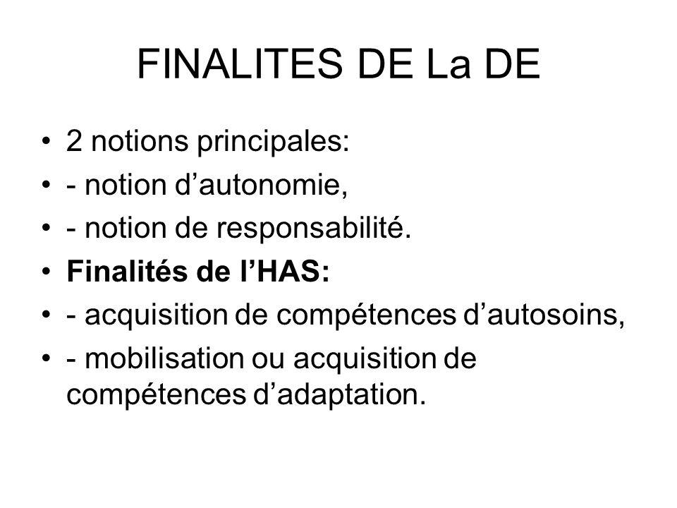 FINALITES DE La DE 2 notions principales: - notion dautonomie, - notion de responsabilité.