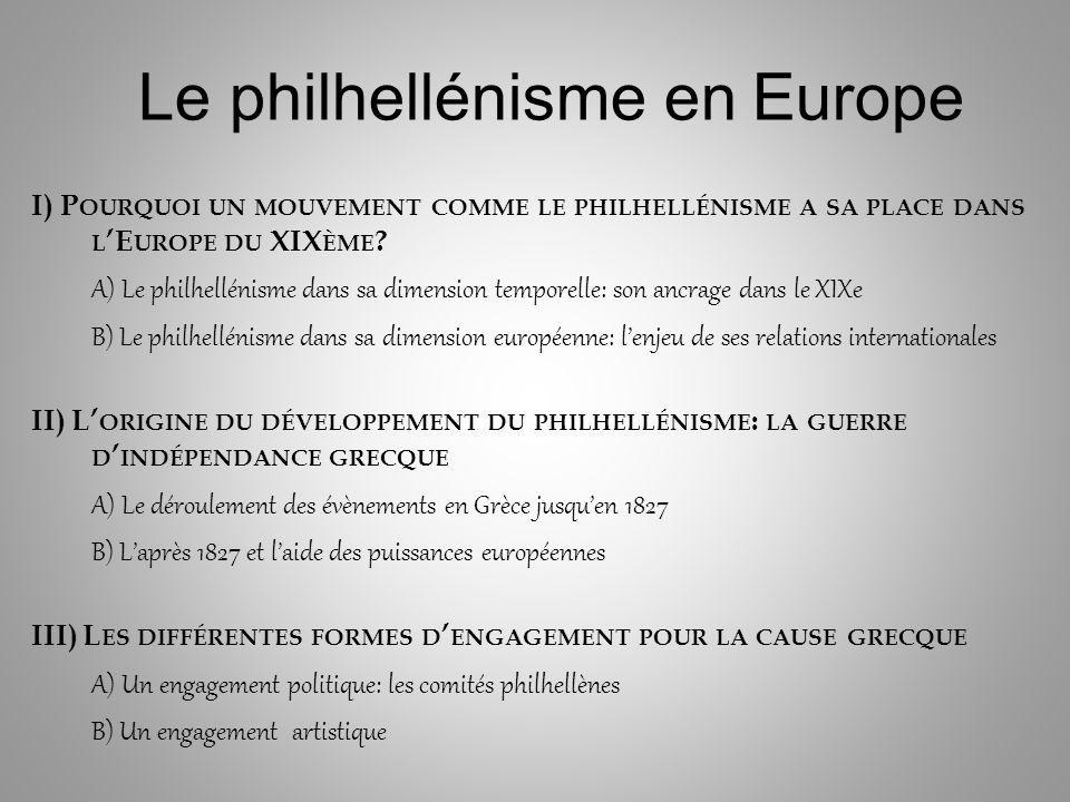 Le philhellénisme en Europe I) P OURQUOI UN MOUVEMENT COMME LE PHILHELLÉNISME A SA PLACE DANS L E UROPE DU XIX ÈME .