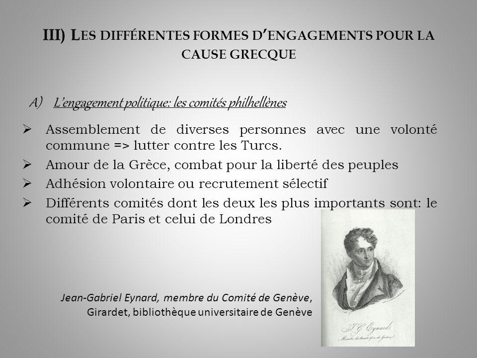 III) L ES DIFFÉRENTES FORMES D ENGAGEMENTS POUR LA CAUSE GRECQUE Assemblement de diverses personnes avec une volonté commune => lutter contre les Turcs.