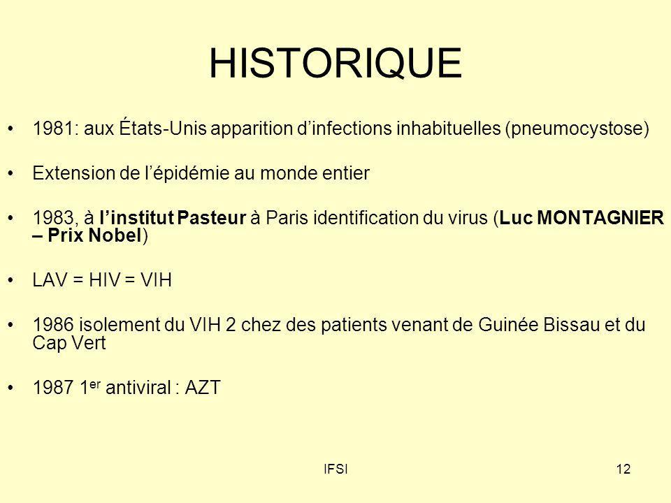 IFSI12 HISTORIQUE 1981: aux États-Unis apparition dinfections inhabituelles (pneumocystose) Extension de lépidémie au monde entier 1983, à linstitut P