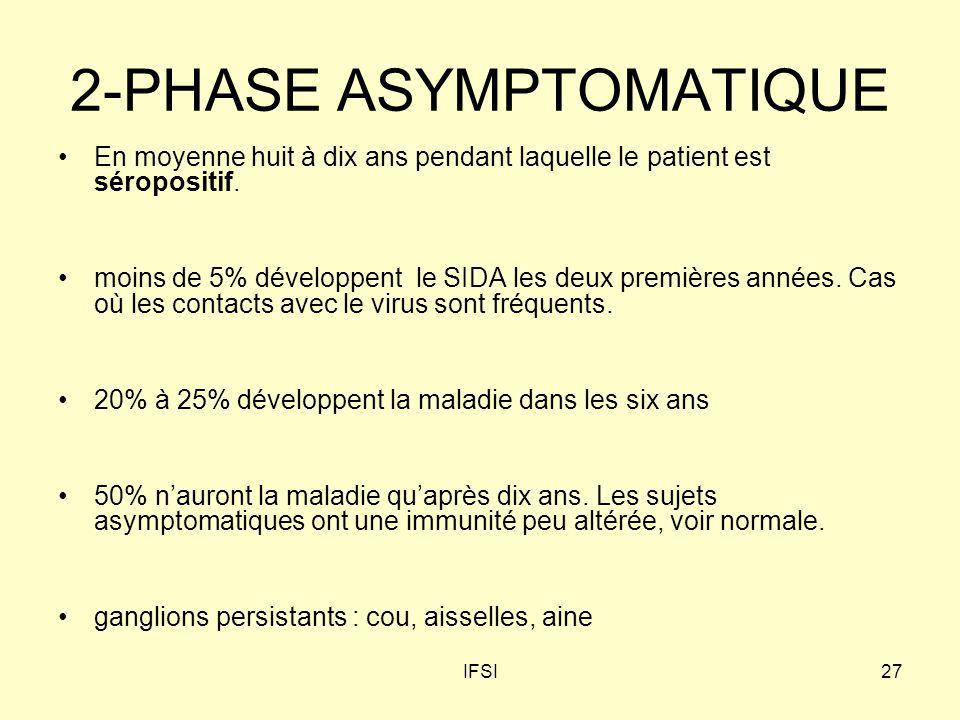 IFSI27 2-PHASE ASYMPTOMATIQUE En moyenne huit à dix ans pendant laquelle le patient est séropositif. moins de 5% développent le SIDA les deux première