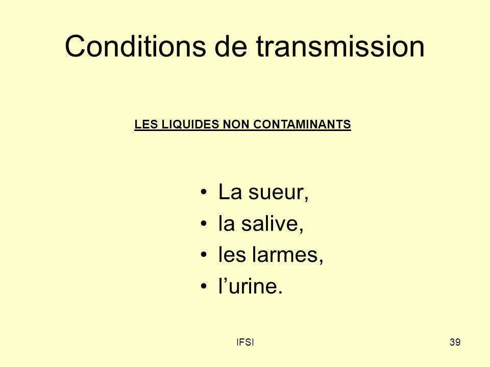 IFSI39 Conditions de transmission La sueur, la salive, les larmes, lurine. LES LIQUIDES NON CONTAMINANTS