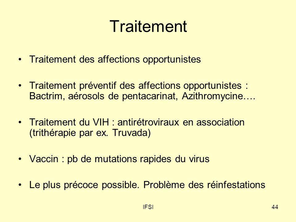 IFSI44 Traitement Traitement des affections opportunistes Traitement préventif des affections opportunistes : Bactrim, aérosols de pentacarinat, Azith