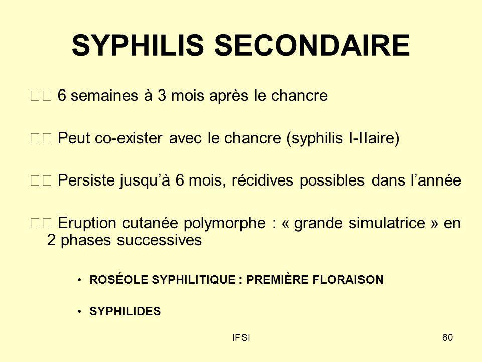 IFSI60 SYPHILIS SECONDAIRE 6 semaines à 3 mois après le chancre Peut co-exister avec le chancre (syphilis I-IIaire) Persiste jusquà 6 mois, récidives