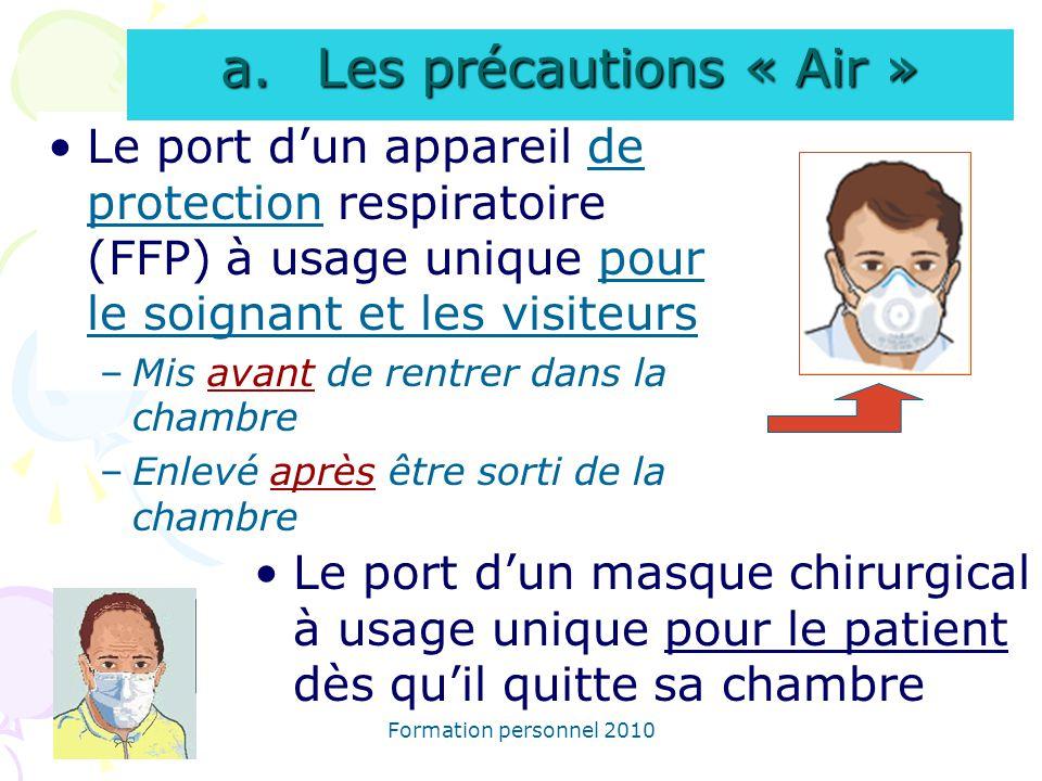 Formation personnel 2010 Le port dun appareil de protection respiratoire (FFP) à usage unique pour le soignant et les visiteurs –Mis avant de rentrer