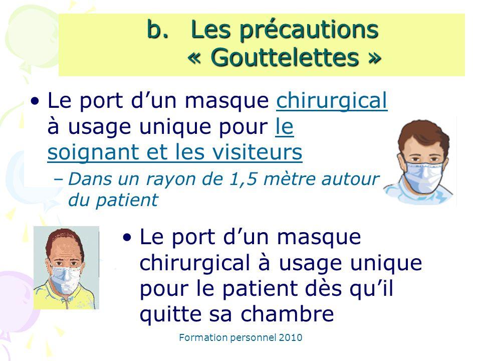 Formation personnel 2010 Le port dun masque chirurgical à usage unique pour le soignant et les visiteurs –Dans un rayon de 1,5 mètre autour du patient