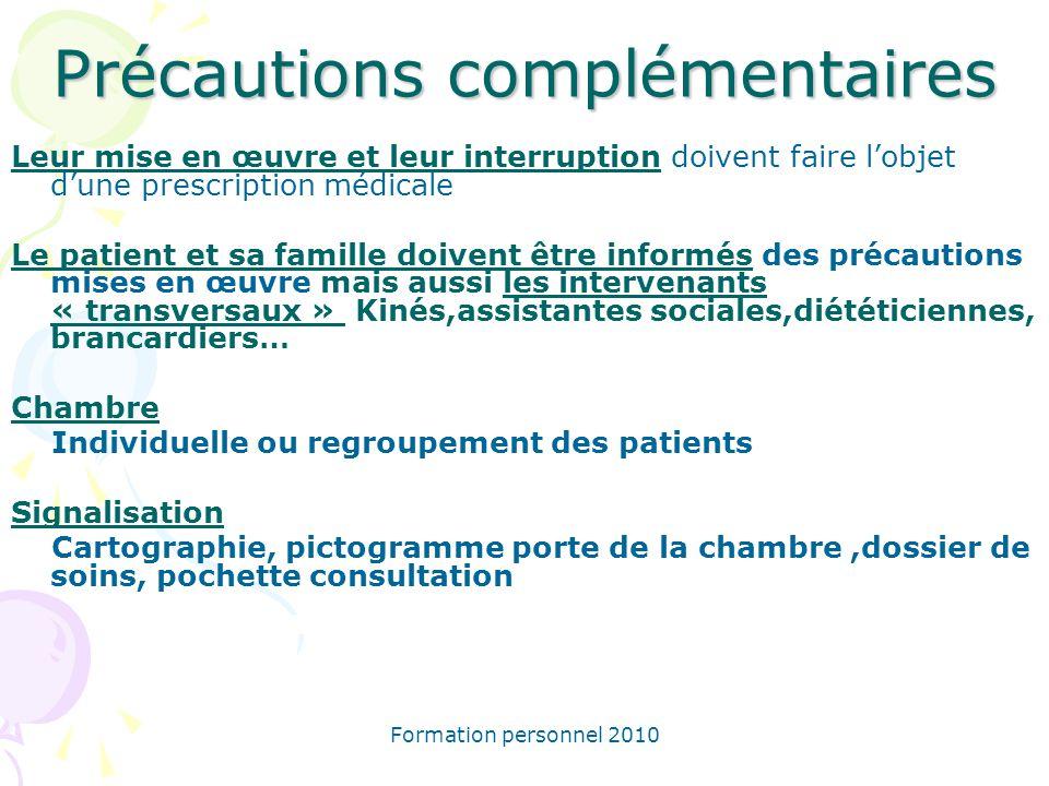 Formation personnel 2010 Précautions complémentaires Leur mise en œuvre et leur interruption doivent faire lobjet dune prescription médicale Le patien