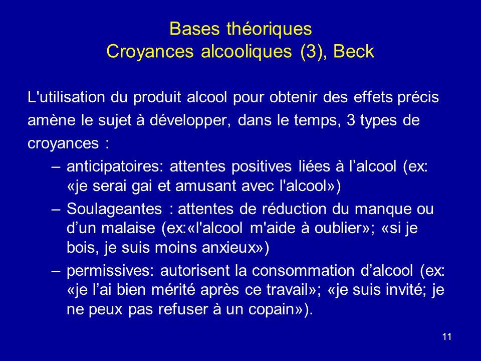 11 Bases théoriques Croyances alcooliques (3), Beck L'utilisation du produit alcool pour obtenir des effets précis amène le sujet à développer, dans l