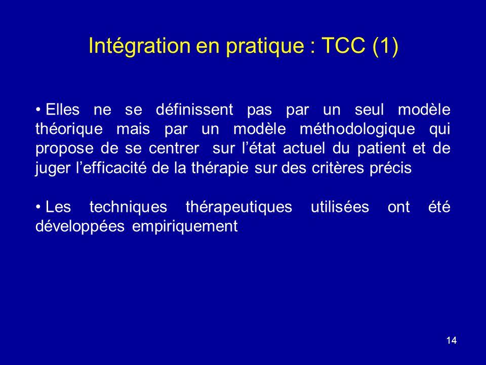 14 Intégration en pratique : TCC (1) Elles ne se définissent pas par un seul modèle théorique mais par un modèle méthodologique qui propose de se cent