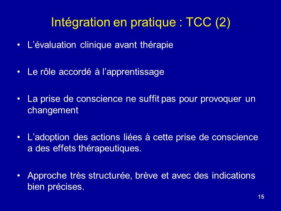 15 Intégration en pratique : TCC (2) Lévaluation clinique avant thérapie Le rôle accordé à lapprentissage La prise de conscience ne suffit pas pour pr