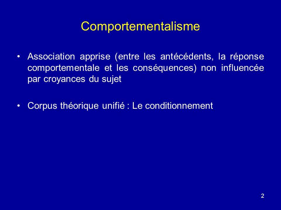 2 Comportementalisme Association apprise (entre les antécédents, la réponse comportementale et les conséquences) non influencée par croyances du sujet