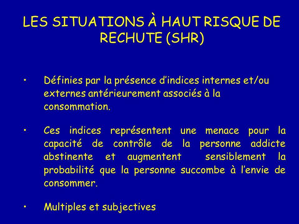 LES SITUATIONS À HAUT RISQUE DE RECHUTE (SHR) Définies par la présence dindices internes et/ou externes antérieurement associés à la consommation. Ces