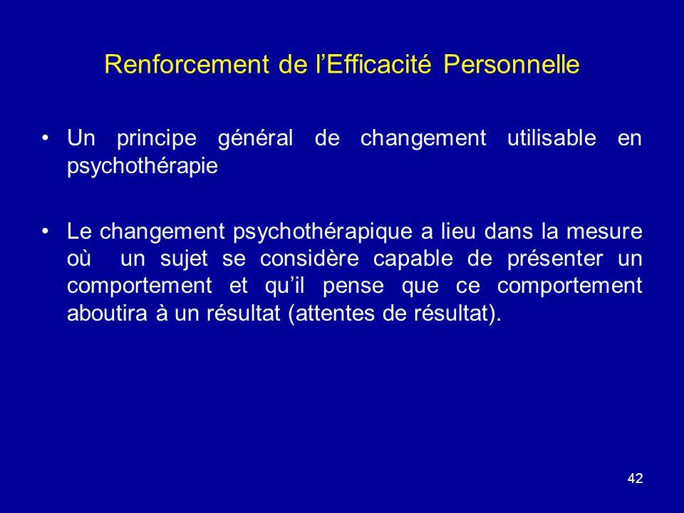 42 Renforcement de lEfficacité Personnelle Un principe général de changement utilisable en psychothérapie Le changement psychothérapique a lieu dans l