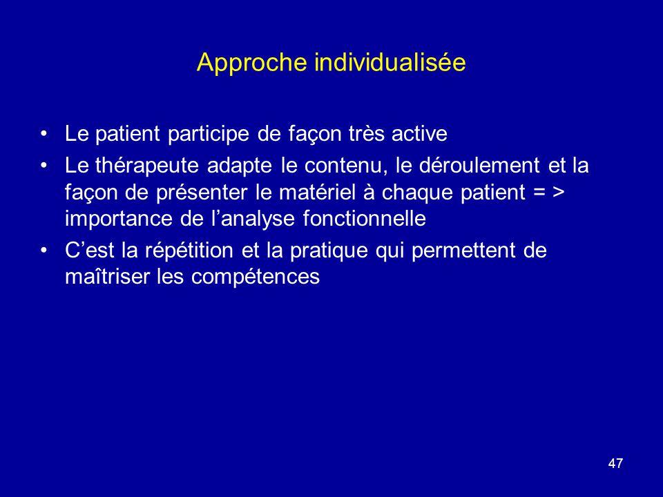 Approche individualisée Le patient participe de façon très active Le thérapeute adapte le contenu, le déroulement et la façon de présenter le matériel