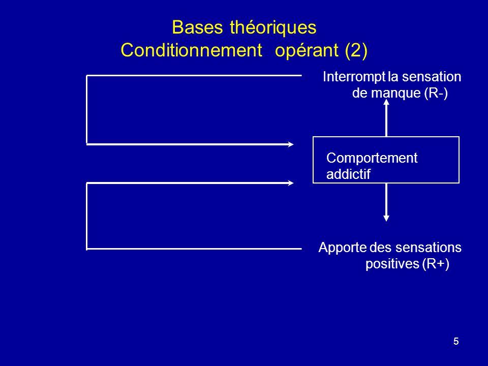 5 Bases théoriques Conditionnement opérant (2) Interrompt la sensation de manque (R-) Comportement addictif Apporte des sensations positives (R+)