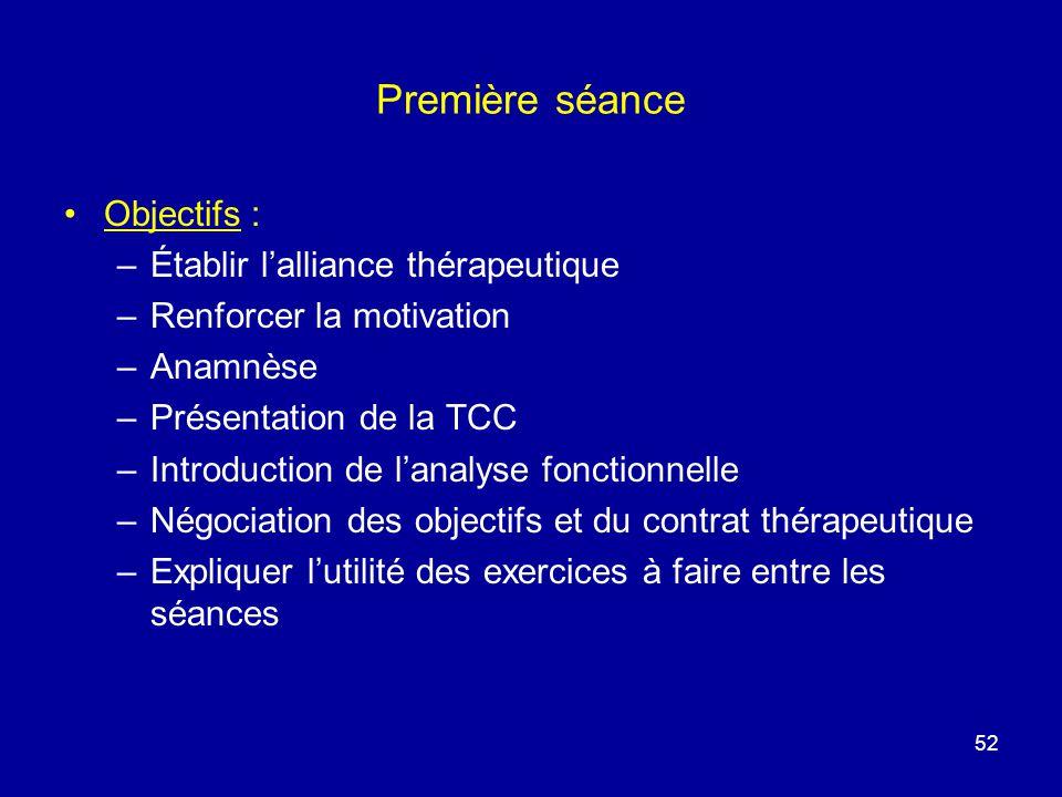 Première séance Objectifs : –Établir lalliance thérapeutique –Renforcer la motivation –Anamnèse –Présentation de la TCC –Introduction de lanalyse fonc