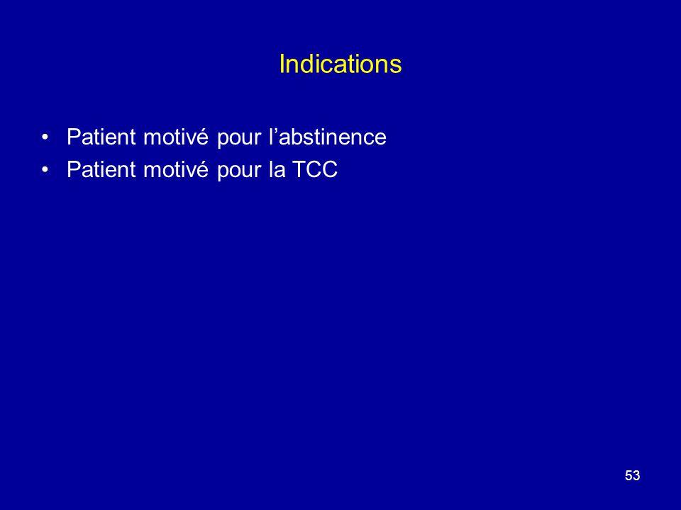 Indications Patient motivé pour labstinence Patient motivé pour la TCC 53