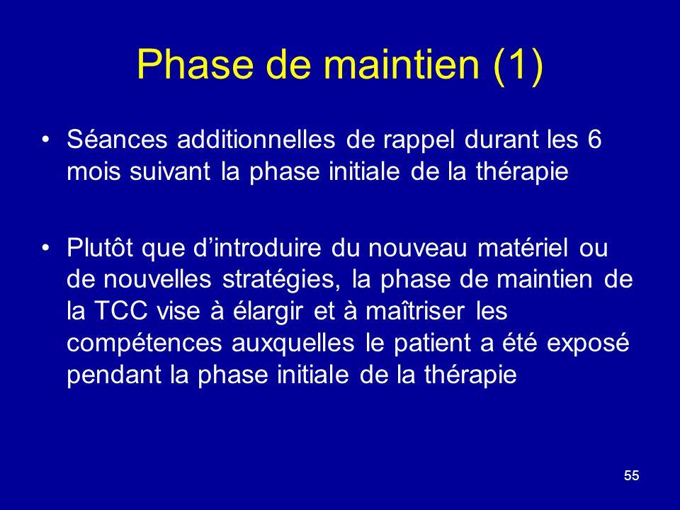 Phase de maintien (1) Séances additionnelles de rappel durant les 6 mois suivant la phase initiale de la thérapie Plutôt que dintroduire du nouveau ma