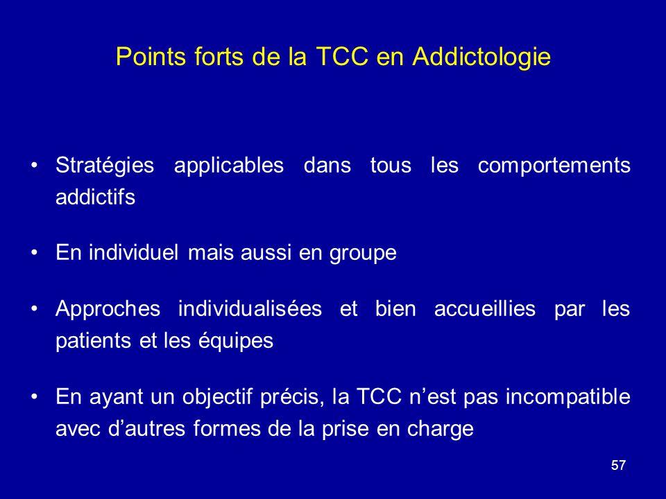 Points forts de la TCC en Addictologie Stratégies applicables dans tous les comportements addictifs En individuel mais aussi en groupe Approches indiv
