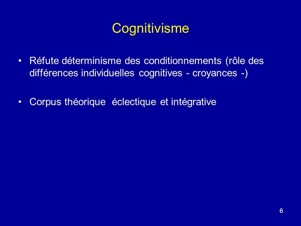 6 Cognitivisme Réfute déterminisme des conditionnements (rôle des différences individuelles cognitives - croyances -) Corpus théorique éclectique et i