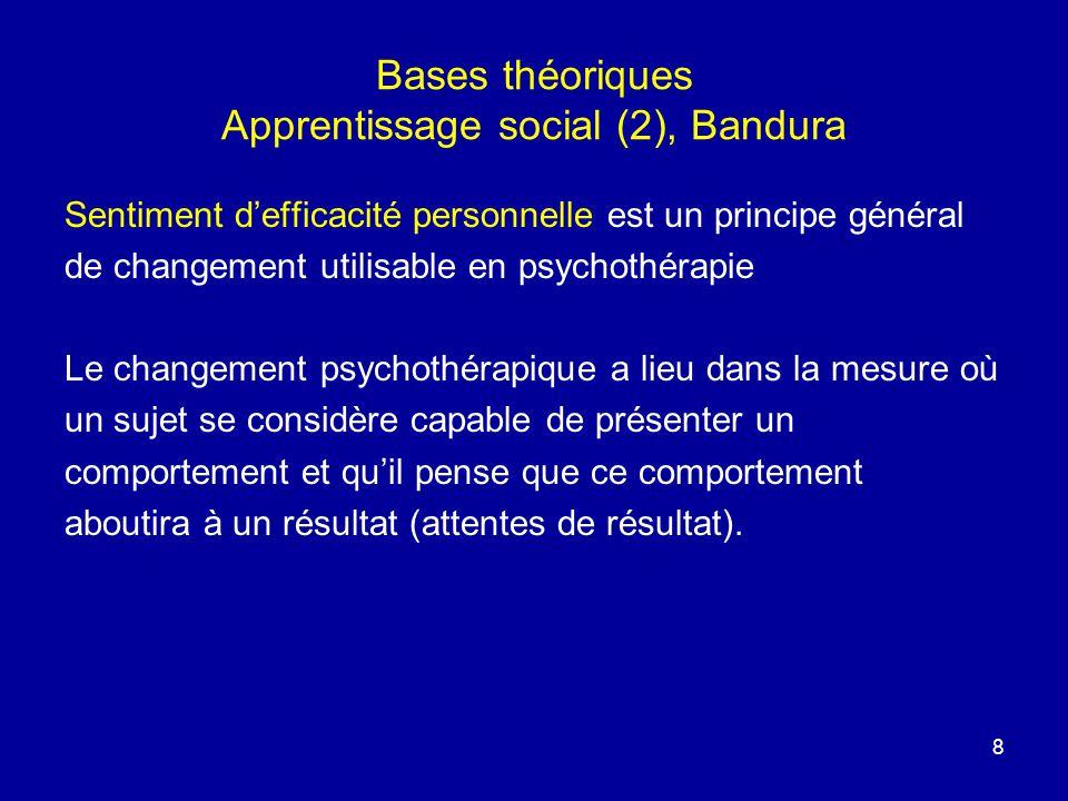 8 Bases théoriques Apprentissage social (2), Bandura Sentiment defficacité personnelle est un principe général de changement utilisable en psychothéra