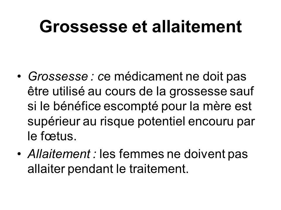 Grossesse et allaitement Grossesse : ce médicament ne doit pas être utilisé au cours de la grossesse sauf si le bénéfice escompté pour la mère est supérieur au risque potentiel encouru par le fœtus.