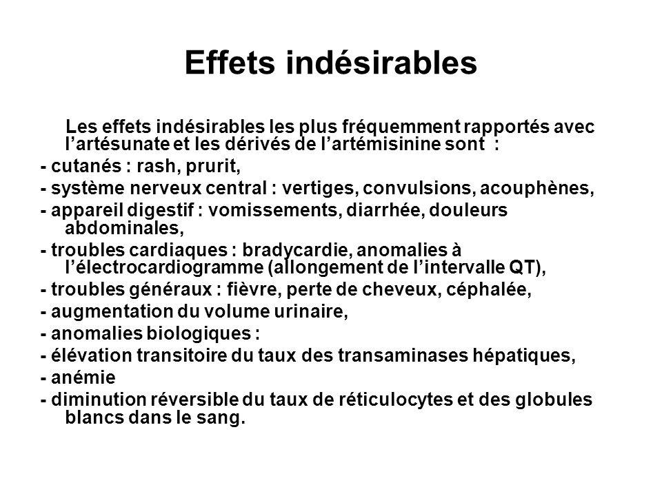 Effets indésirables Les effets indésirables les plus fréquemment rapportés avec lartésunate et les dérivés de lartémisinine sont : - cutanés : rash, prurit, - système nerveux central : vertiges, convulsions, acouphènes, - appareil digestif : vomissements, diarrhée, douleurs abdominales, - troubles cardiaques : bradycardie, anomalies à lélectrocardiogramme (allongement de lintervalle QT), - troubles généraux : fièvre, perte de cheveux, céphalée, - augmentation du volume urinaire, - anomalies biologiques : - élévation transitoire du taux des transaminases hépatiques, - anémie - diminution réversible du taux de réticulocytes et des globules blancs dans le sang.
