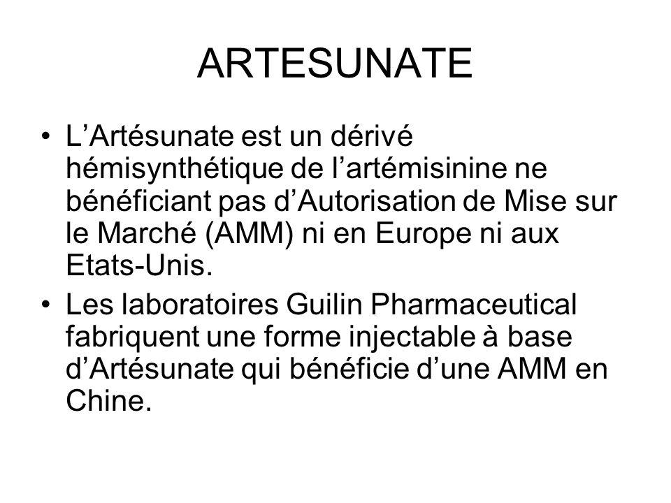 ARTESUNATE LArtésunate est un dérivé hémisynthétique de lartémisinine ne bénéficiant pas dAutorisation de Mise sur le Marché (AMM) ni en Europe ni aux Etats-Unis.
