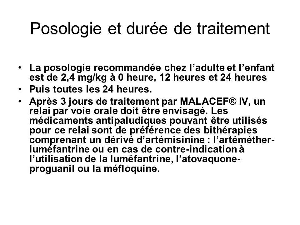 Posologie et durée de traitement La posologie recommandée chez ladulte et lenfant est de 2,4 mg/kg à 0 heure, 12 heures et 24 heures Puis toutes les 24 heures.
