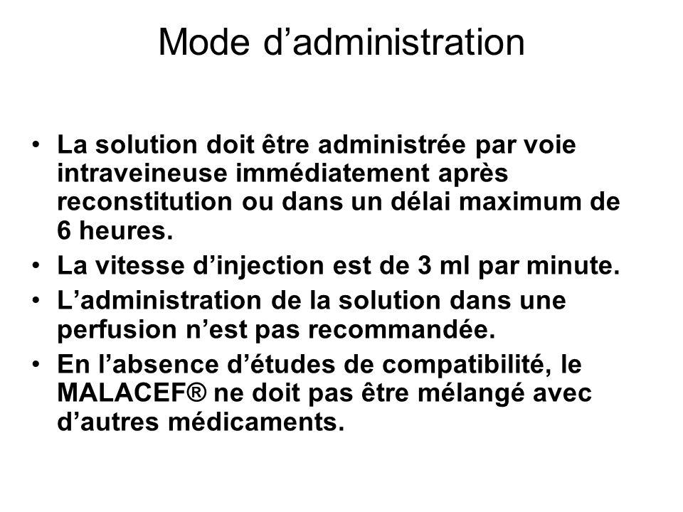 Mode dadministration La solution doit être administrée par voie intraveineuse immédiatement après reconstitution ou dans un délai maximum de 6 heures.