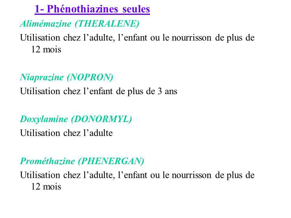 1- Phénothiazines seules Alimémazine (THERALENE) Utilisation chez ladulte, lenfant ou le nourrisson de plus de 12 mois Niaprazine (NOPRON) Utilisation