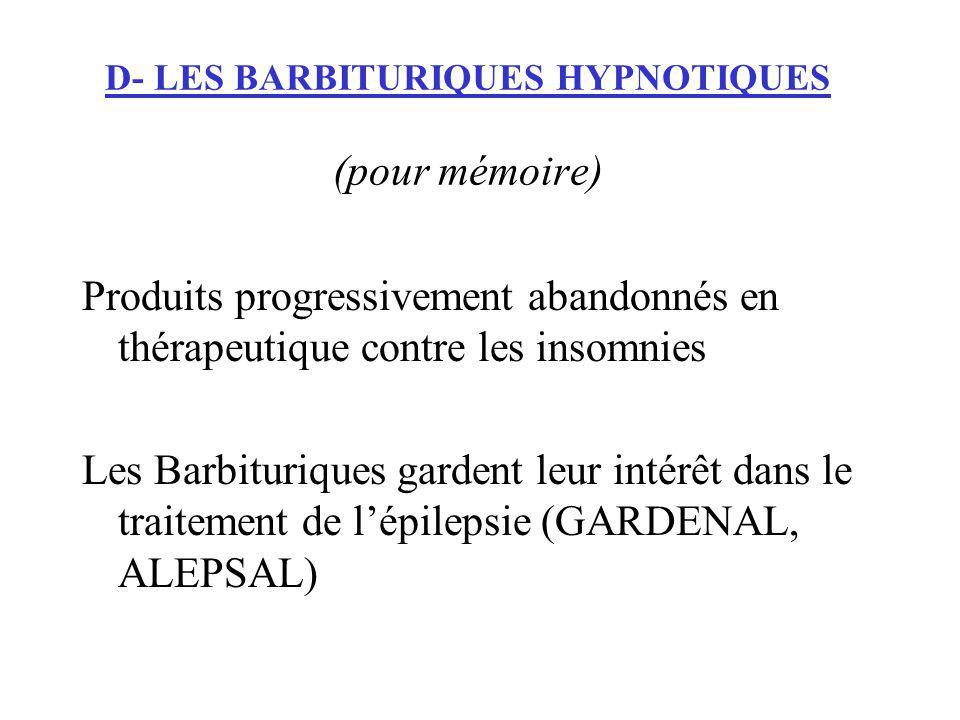D- LES BARBITURIQUES HYPNOTIQUES (pour mémoire) Produits progressivement abandonnés en thérapeutique contre les insomnies Les Barbituriques gardent le