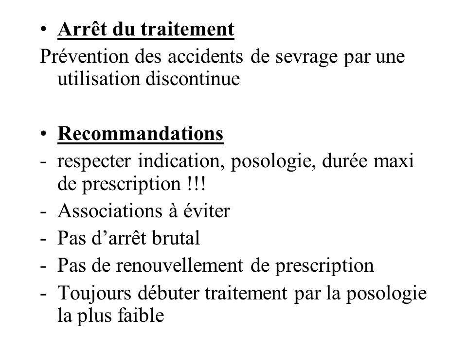 Arrêt du traitement Prévention des accidents de sevrage par une utilisation discontinue Recommandations -respecter indication, posologie, durée maxi d