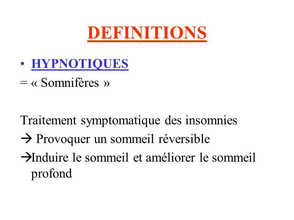 DEFINITIONS HYPNOTIQUES = « Somnifères » Traitement symptomatique des insomnies Provoquer un sommeil réversible Induire le sommeil et améliorer le som