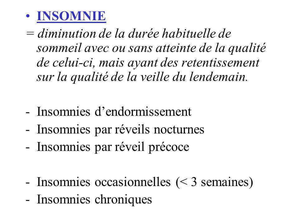 INSOMNIE = diminution de la durée habituelle de sommeil avec ou sans atteinte de la qualité de celui-ci, mais ayant des retentissement sur la qualité