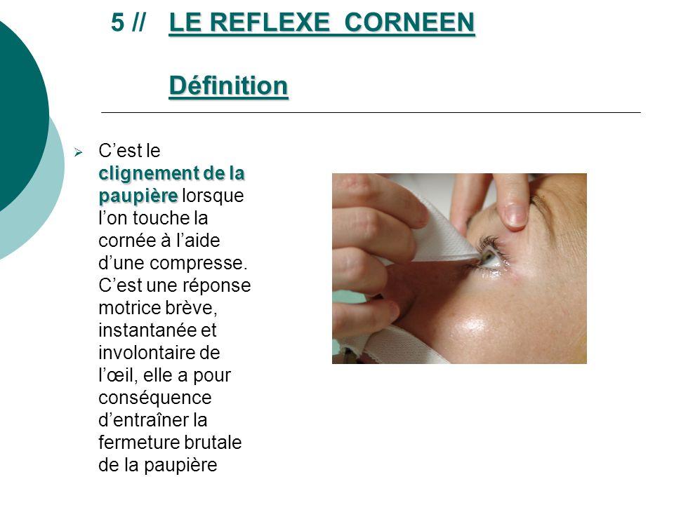 LE REFLEXE CORNEEN Définition 5 // LE REFLEXE CORNEEN Définition clignement de la paupière Cest le clignement de la paupière lorsque lon touche la cor