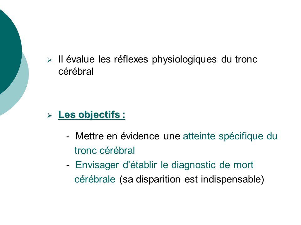 Il évalue les réflexes physiologiques du tronc cérébral Les objectifs : Les objectifs : - Mettre en évidence une atteinte spécifique du tronc cérébral