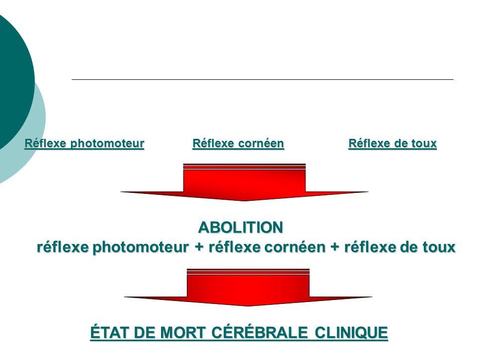 Réflexe photomoteur Réflexe cornéen Réflexe de toux ABOLITION réflexe photomoteur + réflexe cornéen + réflexe de toux ÉTAT DE MORT CÉRÉBRALE CLINIQUE